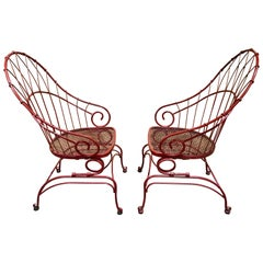 Pair of Antique French Wrought Iron Spring Motion Chairs, in Red