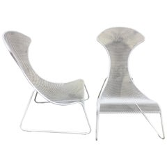Pair of Italian Modern Tapered Wrought Iron Lounge Chairs