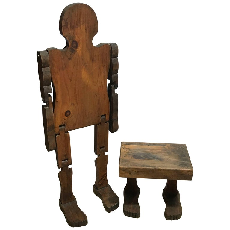 "American Folk Art Standing Articulated Man with ""Footstool"""