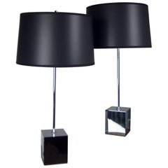 Pair of Chrome Cube Based Table Lamps
