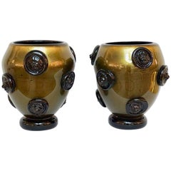 Cenedese 1980s Pair of Black and Pure Gold Murano Glass Vases with Lion Heads
