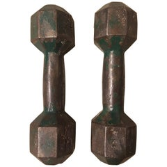 Pair of French Green Iron Dumbbells, 1940s