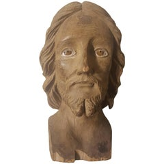 19th Century Italian Sculpted Christ Walnut Head with Glass Eyes
