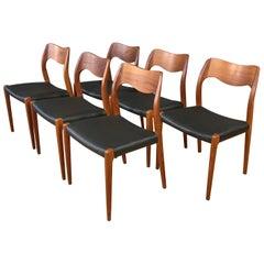 Set of Six N.O. Møller Model 71 Teak Dining Chairs