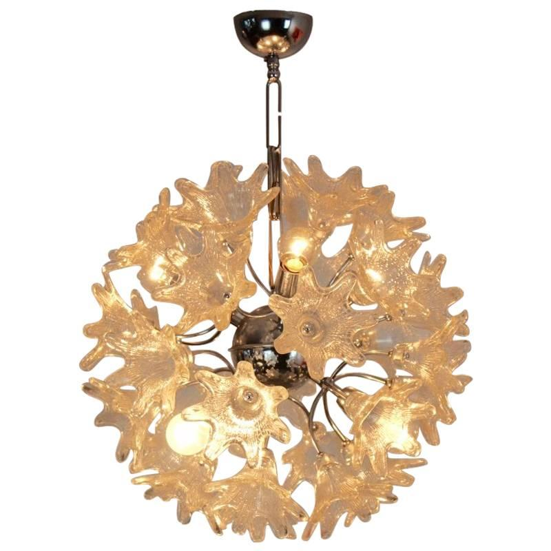 Sophisticated Venini Murano Glass Chandelier for VeArt, Italy, 1960s