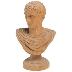 Busto Tiberius Wood Sculpture
