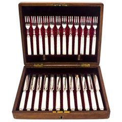 Antique Boxed Set 12 Pairs Silver & Mother-of-Pearl Fruit Forks & Knives, 1892