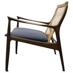Ib Kofod Larsen Walnut Cane Back Midcentury Danish Lounge Armchair