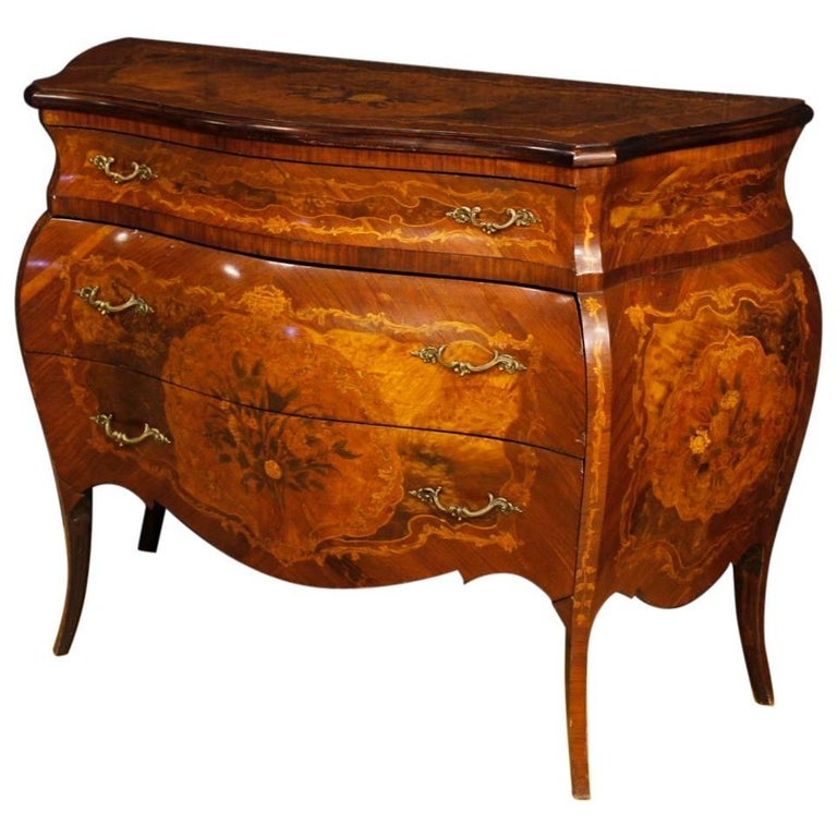 Italian Inlaid Chest Of Drawers In Wood In Louis XV Style 20th Century 1