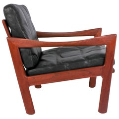 Illum Wikkelsø Midcentury Teak and Leather Lounge Chair for Niels Eilersen