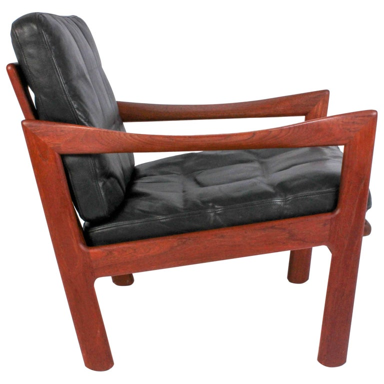 Illum Wikkelsø Midcentury Teak and Leather Lounge Chair for Niels Eilersen For Sale