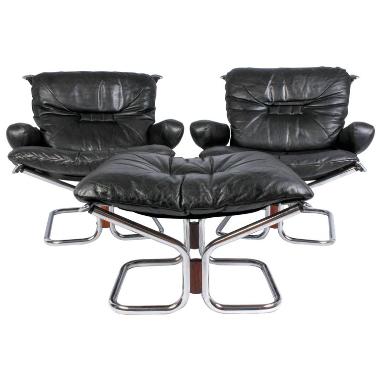 Pair of Midcentury Leather & Chrome Lounge Chairs and Ottoman by Ingmar Relling