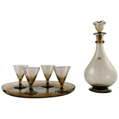 Simon Gate for Orrefors, Art Deco Art Glass Four Pieces, Liqueur Set with Carafe
