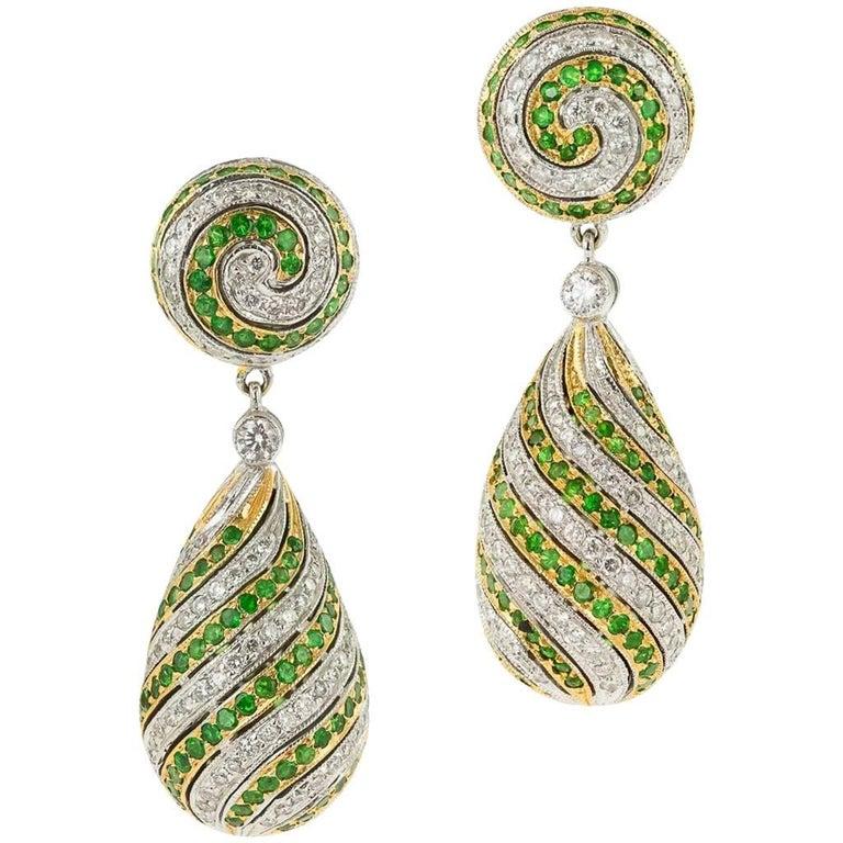 Stunning 18-Karat White and Yellow Gold, Emerald, Diamonds Drop Earrings