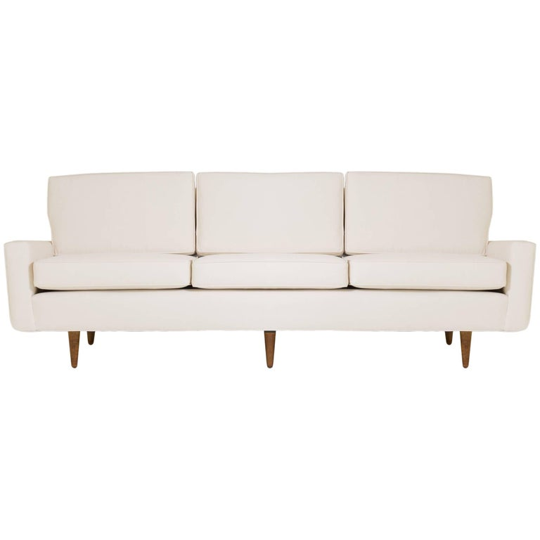"Early Florence Knoll Three-Seat ""Model 26"" Sofa in Ivory Luxe Suede"