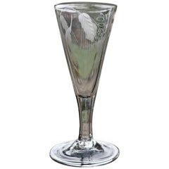 Mid-Georgian Ale Drinking Glass Engraved with Hops and Barley, Handblown, 1750