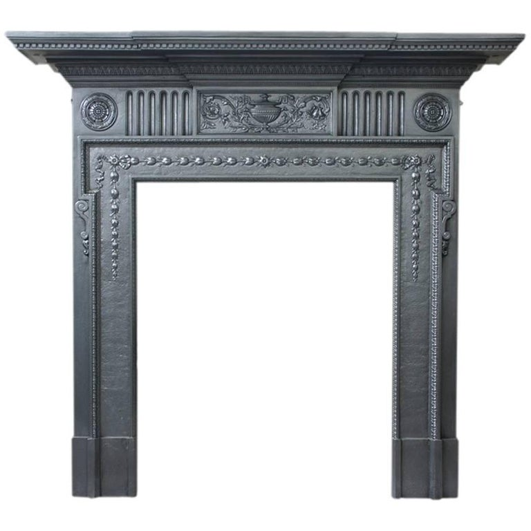19th Century Victorian Neoclassical Cast Iron Fireplace Surround For ...