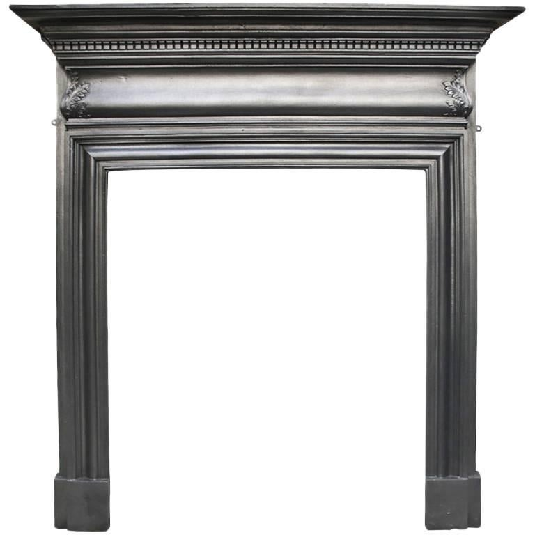 Small Late Victorian Cast Iron Fireplace Surround For