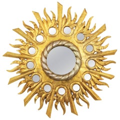 Spanish 1940s Baroque Style Silver and Giltwood Mirrored Circles Sunburst Mirror