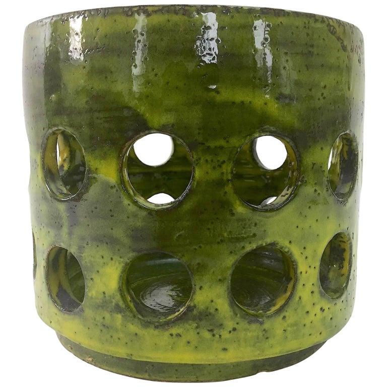 Mado Jolain, Large Cylinder Ceramic Vase or Cachepot