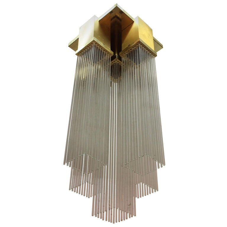 Sciolari Italian Brass and Glass Rod Pendant