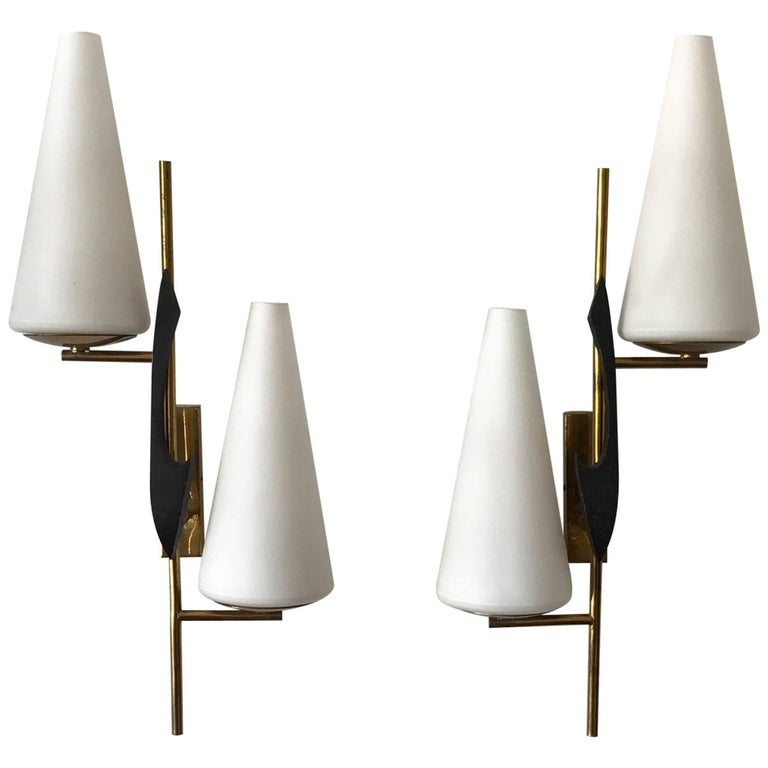 Pair of French Sconces by Maison Arlus For Sale