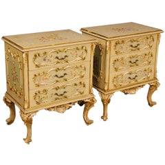 Pair of Italian Bedside Tables In Lacquered, Painted, Gilt Wood 20th Century
