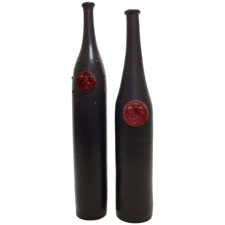 Dalo, Pair of Ceramic Bottles Glazed in Black