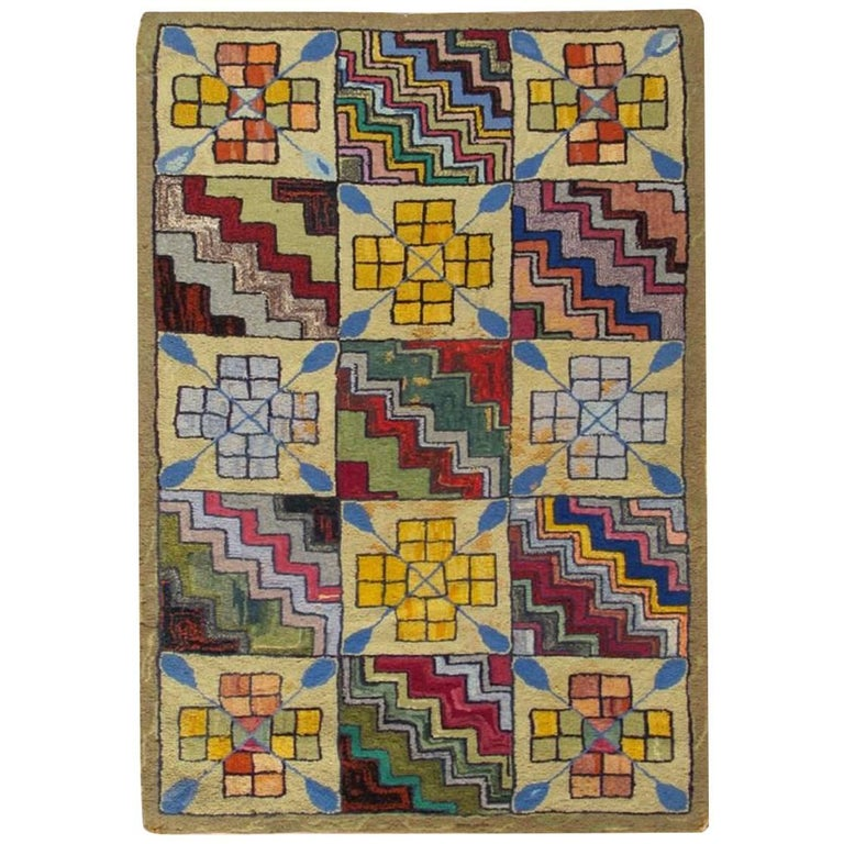 Rainbow Checkerboard Vintage American Hooked Rug with Geometric Cross Designs