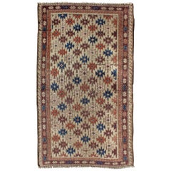 Antique Afghan Baluch Rug with Multicolored All-Over Starburst Design