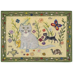Vintage American Hooked Rug with Cats, Butterfly, Frog, Turtle, and Flowers