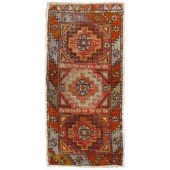 Colorful Vintage Turkish Oushak Rug with Geometric Diamond Design