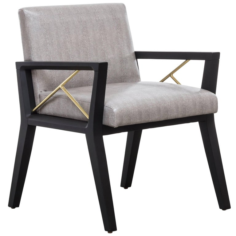 ANDRE CHAIR - Modern Dining Chair with Wood Frame and Brass Pole Detail For Sale