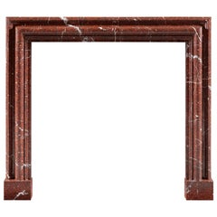 Modern Bolection Freplace in Rouge Griotte Marble