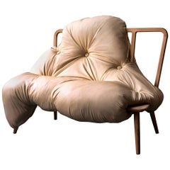 Contemporary 'My Big Fat' Sofa With Biomorphic Upholstered Seat and Wood Frame