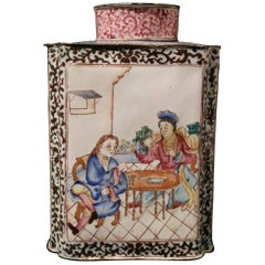 """18th Century Chinese Painted Enamel """"European-Subject"""" Tea Caddy with Lid"""
