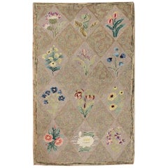 Patchwork and Floral Bouquet Design Antique American Hooked Rug
