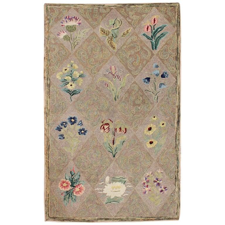 Floral Bouquet Design Antique American Hooked Rug