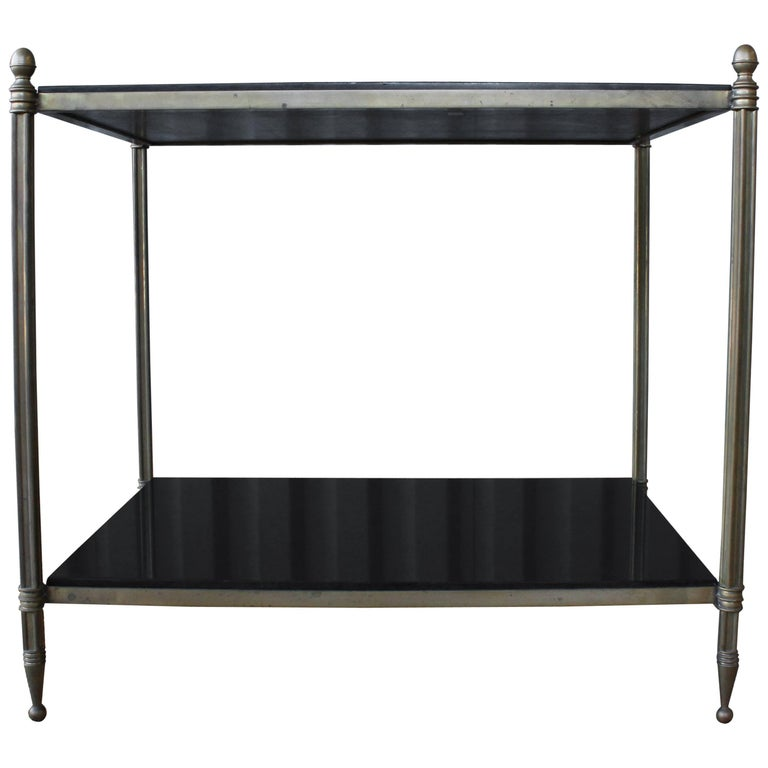 Solid Brass Two-Tiered Side Table For Sale