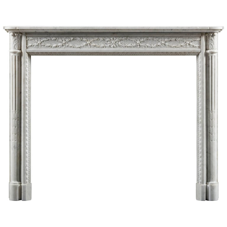 Antique 19th Century Louis XVI fireplace Mantel with Column Jambs
