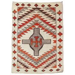 Antique Navajo Carpet, Folk Rug, Handmade Wool Rug, Tan, Coral, Beige