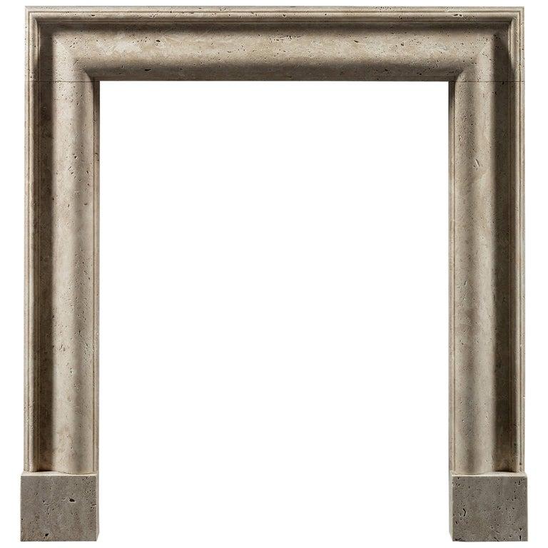 Modern Bolection Fireplace Mantel in Travertine Marble