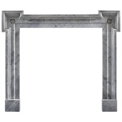Modern Carrara Marble Frame Fireplace Mantel with Eared Jambs