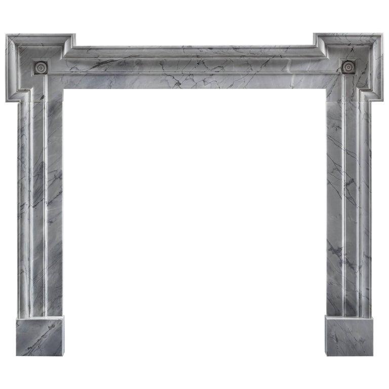 Modern Carrara Marble Frame Fireplace Mantel with Eared Jambs