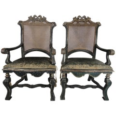 18th Century Pair Of Italian Louis XIV Caned Fauteuils