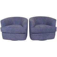 Pair of Milo Baughman Style Swivel Lounge Chairs