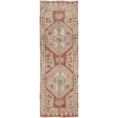 Red and Light Blue Vintage Turkish Oushak Runner with Tribal Medallions