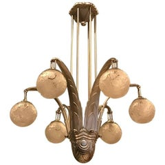 French Art Deco Chandelier Signed by Muller Freres Luneville