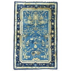 Blue Chinese Pictorial Antique Peking Rug