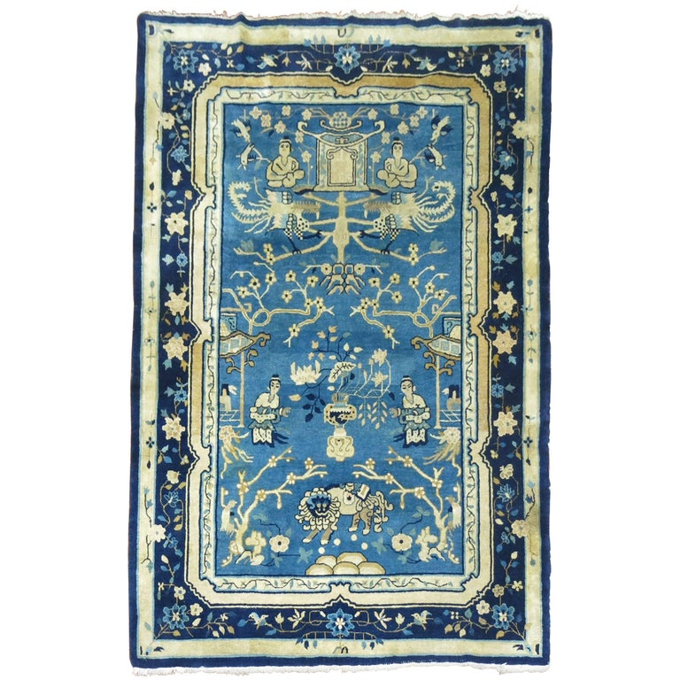 Blue Chinese Pictorial Antique Peking Rug For Sale